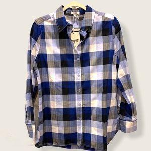 NWT Tyler Boe sapphire check button front shirt